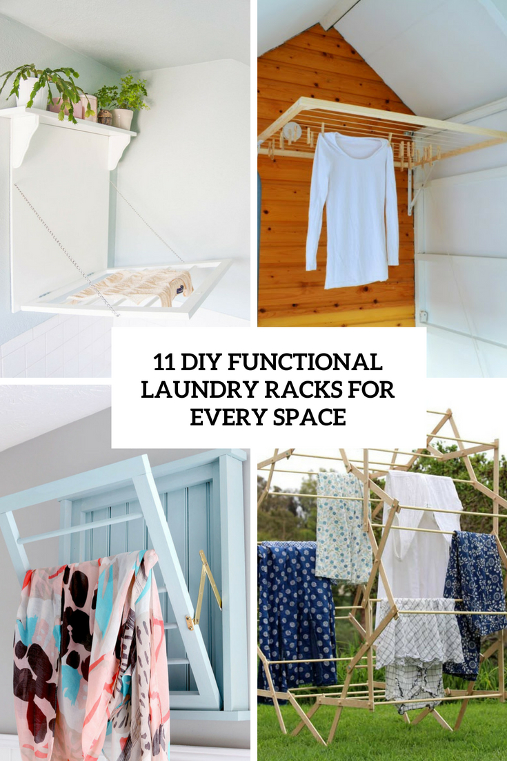 11 DIY Functional Laundry Racks For Every Space
