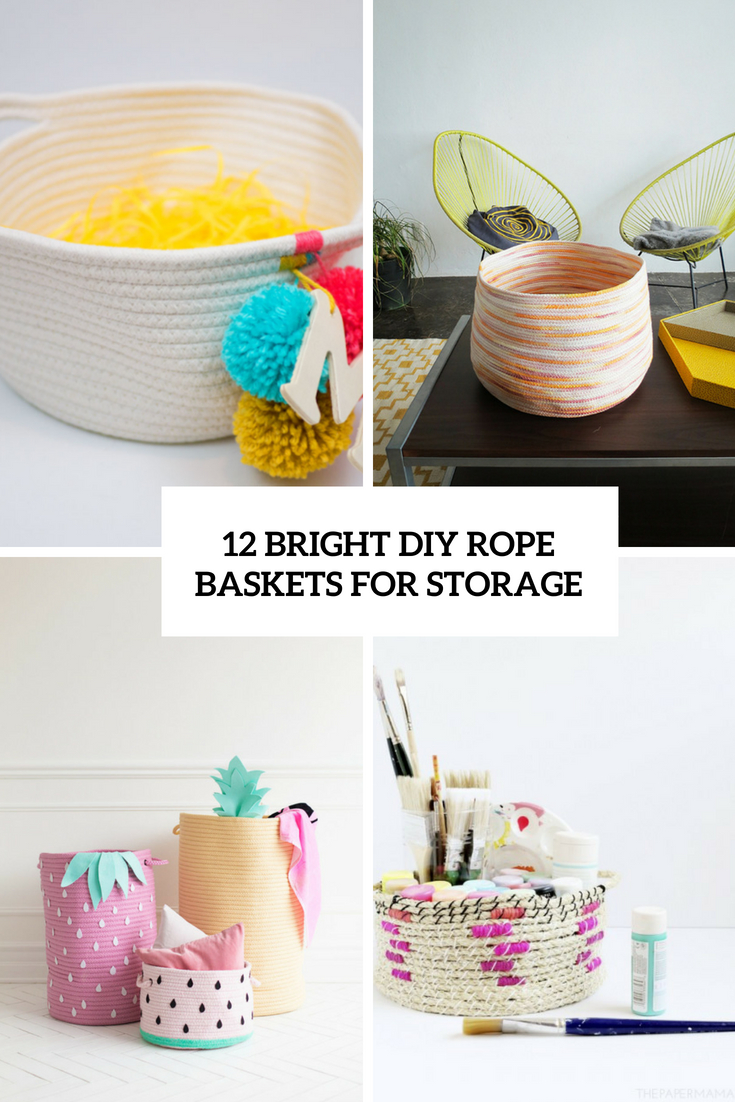 bright diy rope baskets for storage cover