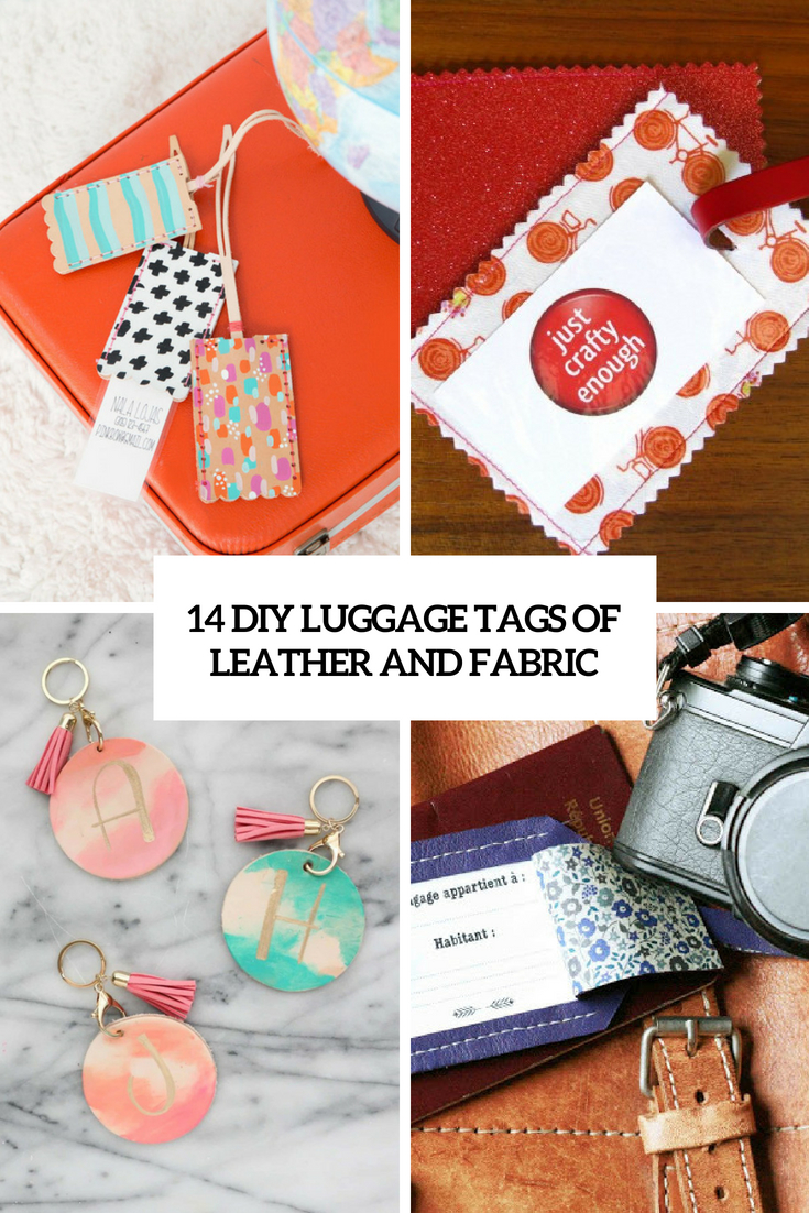 diy luggage tags of leather and fabric cover