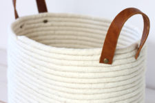 DIY rope basket with leather handles
