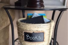 DIY sisal rope basket with a chalkboard tag
