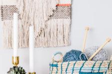 DIY rope basket with blue yarn decor