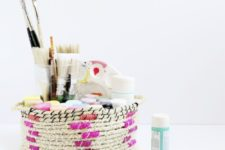 DIY rope basket with colorful yarn