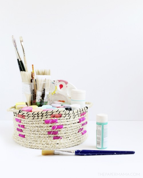 DIY rope basket with colorful yarn (via www.shelterness.com)