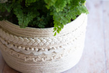 DIY Moroccan-inspired rope basket planter with lace trim