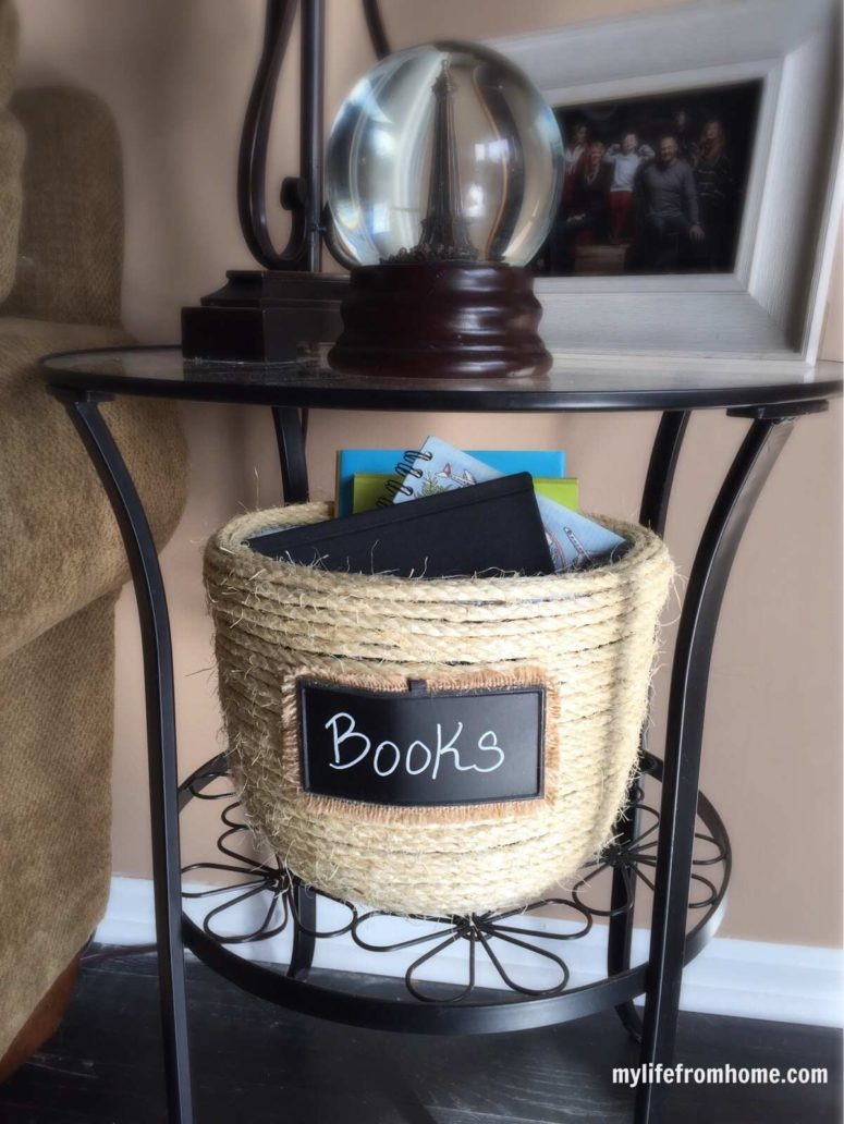 DIY sisal rope basket with a chalkboard tag (via mylifefromhome.com)