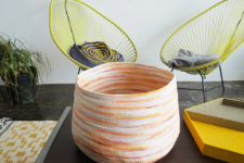 DIY colorful hand dyed rope basket