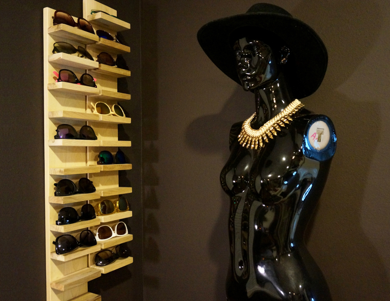 DIY large sunglasses shelf for many pieces (via hollygracemarie.wordpress.com)