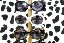 DIY wood dowel and base sunglasses holder