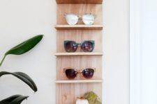 DIY plywood sunglasses shelf