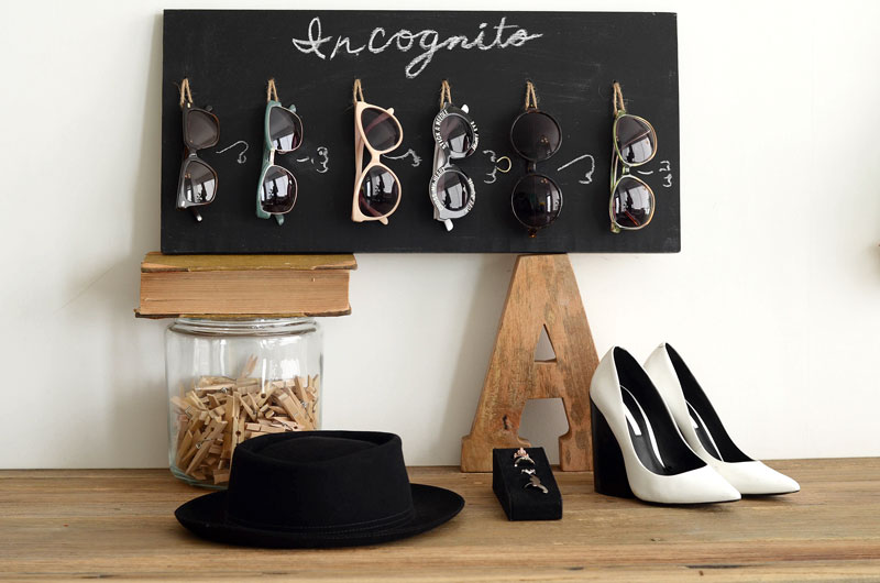 DIY chalkboard and twine sunglasses holder