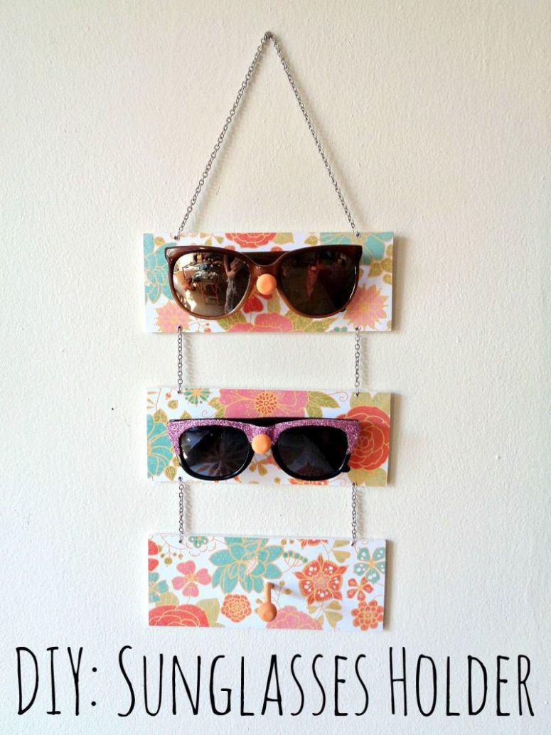 DIY bright plaque sunglasses holder (via www.homedit.com)