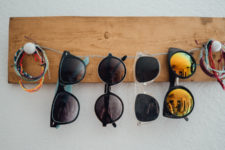 DIY rustic and twine sunglasses holder
