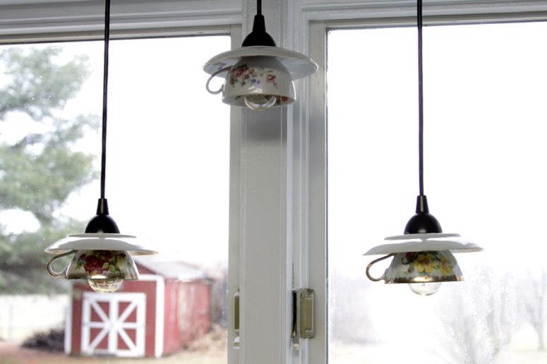 DIY teacup pendant lamps (via flamingotoes.com)