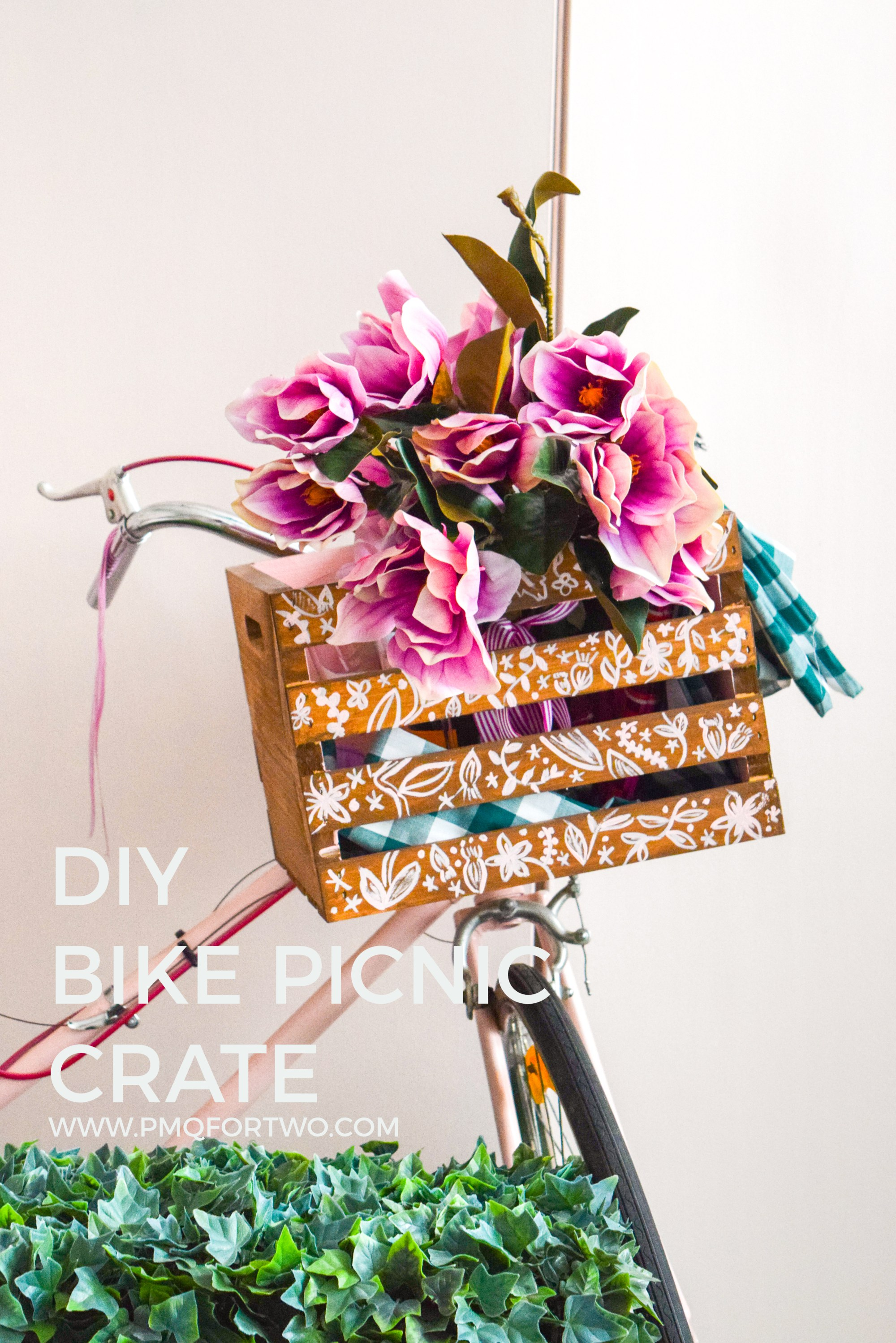 DIY painted bike crate with florals