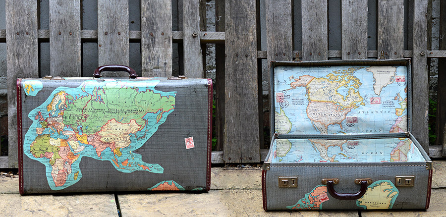 DIY map decoupage suitcases
