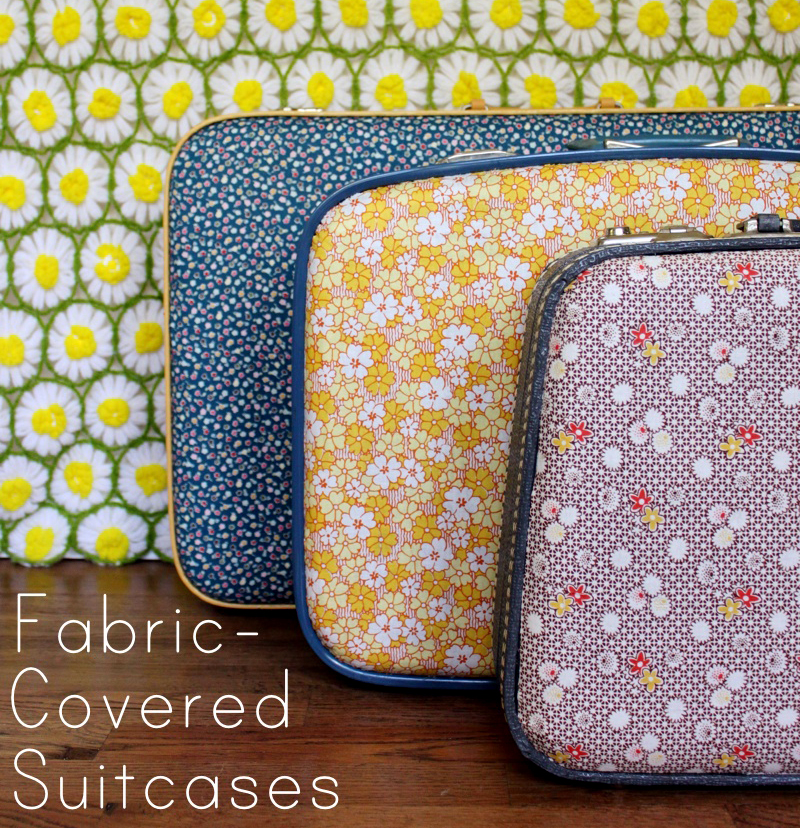 DIY retro inspired floral fabric suitcases