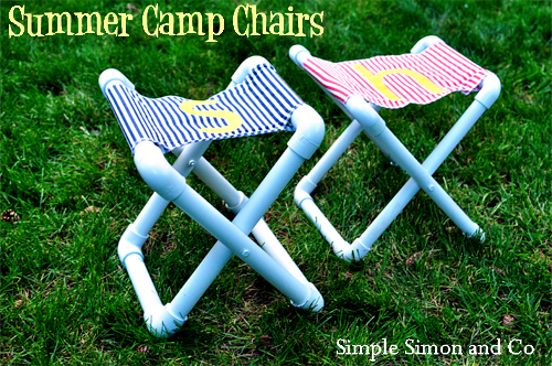 DIY summer camp stools of pipes and bright fabric (via www.simplesimonandco.com)