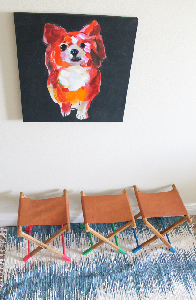 DIY dipped leg and leather seat camp stool (via www.sisterssuitcaseblog.com)