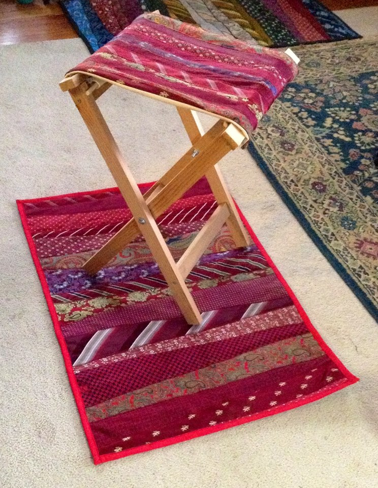 DIY folding camp stool with a seat of neck ties (via www.ana-white.com)