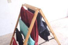 DIY ladder-style foldable drying rack