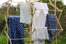 DIY large star shaped clothes drying rack