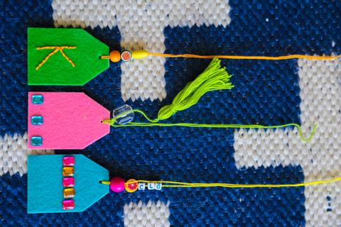 DIY colorful felt and beads and tassels luggage tags