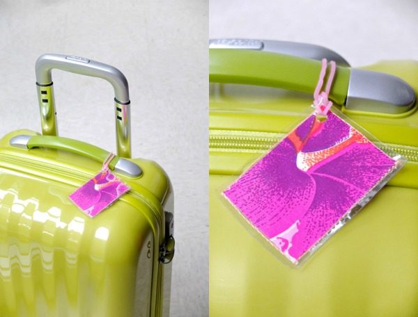 DIY super colorful fabric scrap luggage tags