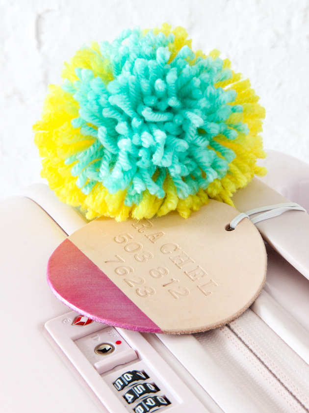DIY paint dipped leather tags with colorful pompoms
