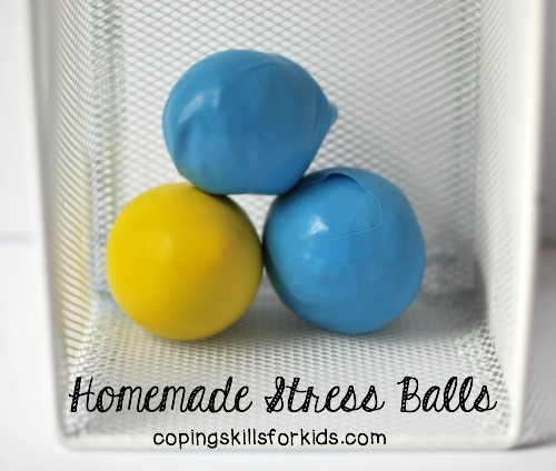 DIY stress balls filled wiht playdough (via copingskillsforkids.com)