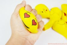 DIY colorful painted emoji stress balls
