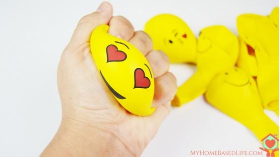 DIY colorful painted emoji stress balls