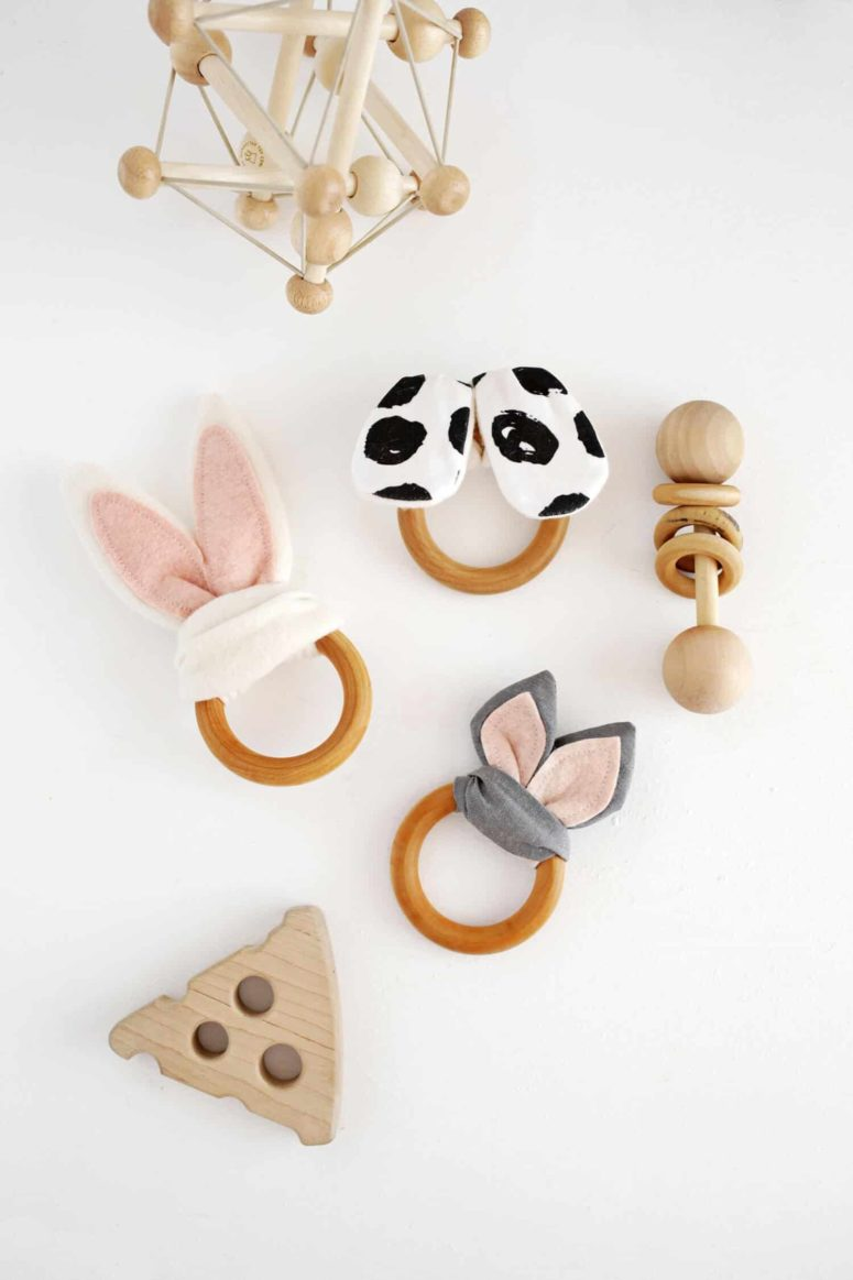 DIY wooden ring and animal ears teething toys (via abeautifulmess.com)