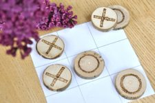DIY rustic travel tic tac toe game