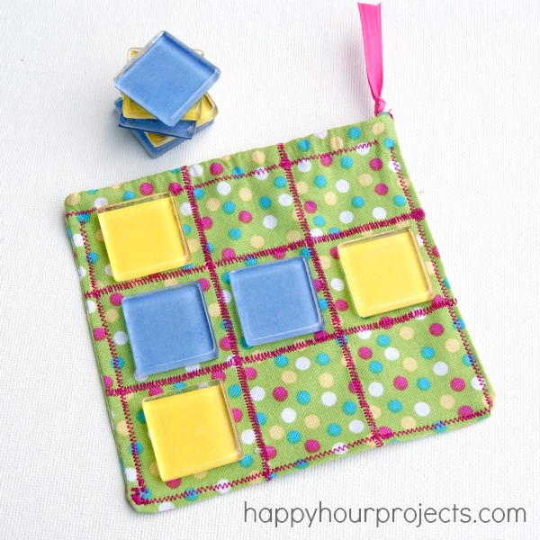 DIY tic tac toe using colorful glass tiles (via happyhourprojects.com)