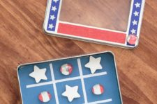 DIY magnetic patriotic tic tac toe