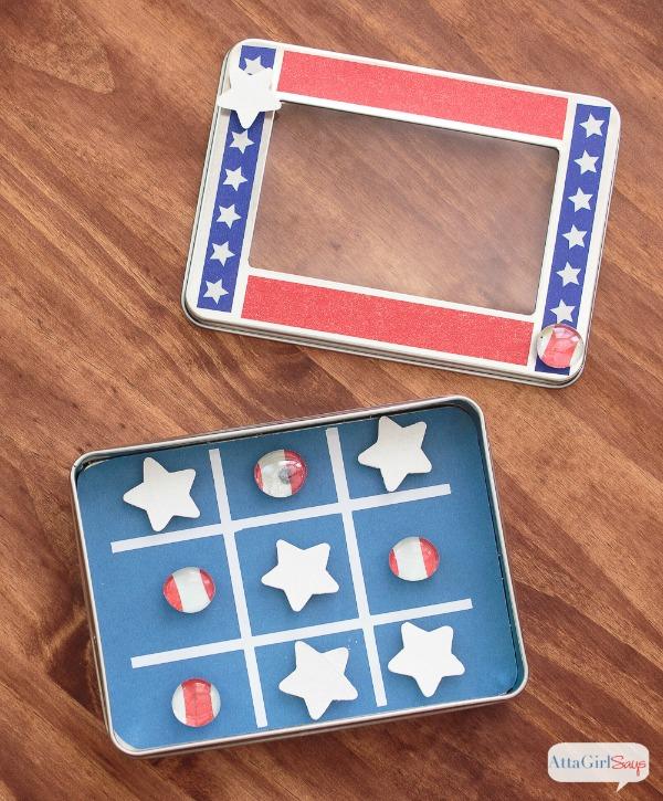 DIY magnetic patriotic tic tac toe