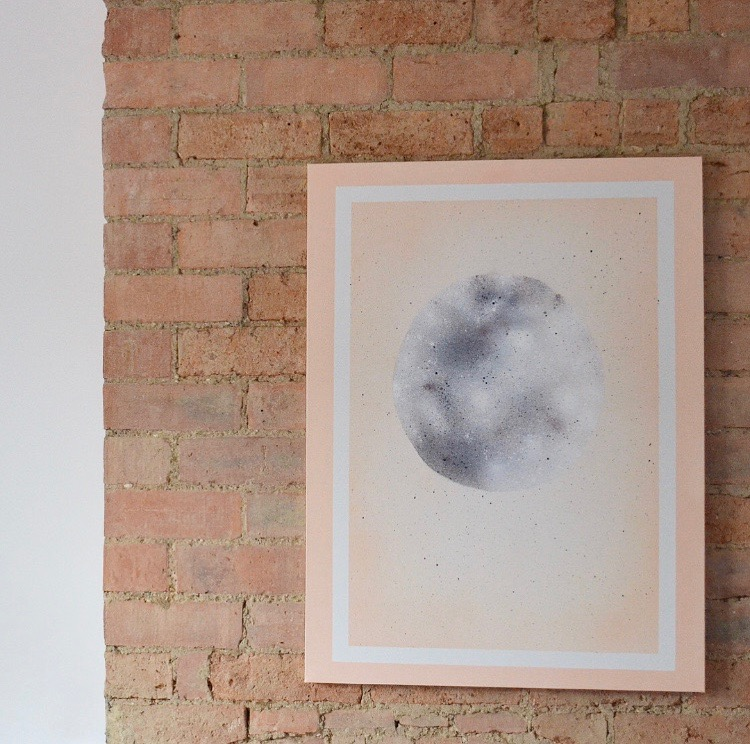 DIY pastel moon artwork using spray paints (via thethingsshemakes.blogspot.com)