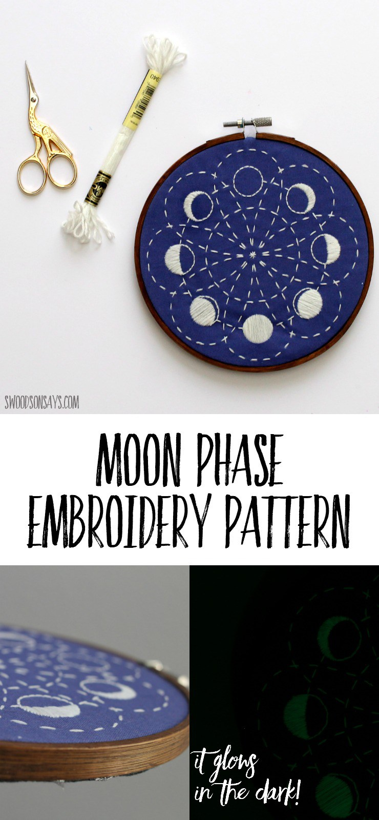DIY embroidered moon phase wall art (via swoodsonsays.com)