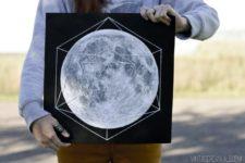 DIY moon artwork with thread geometry