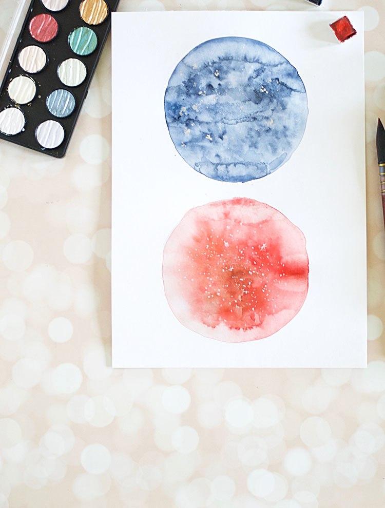 DIY watercolor moon wall art