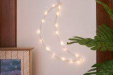 DIY crescent moon LED light