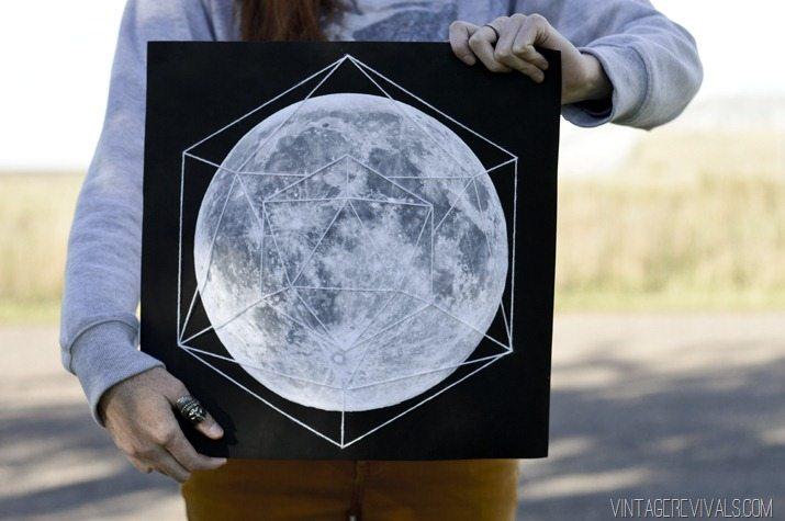 DIY moon artwork with thread geometry  (via vintagerevivals.com)