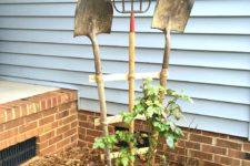 DIY garden trellis of vintage garden tools