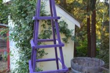 DIY large and colroful garden obelisk of wood