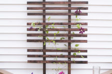 DIY stained planter box with a trellis
