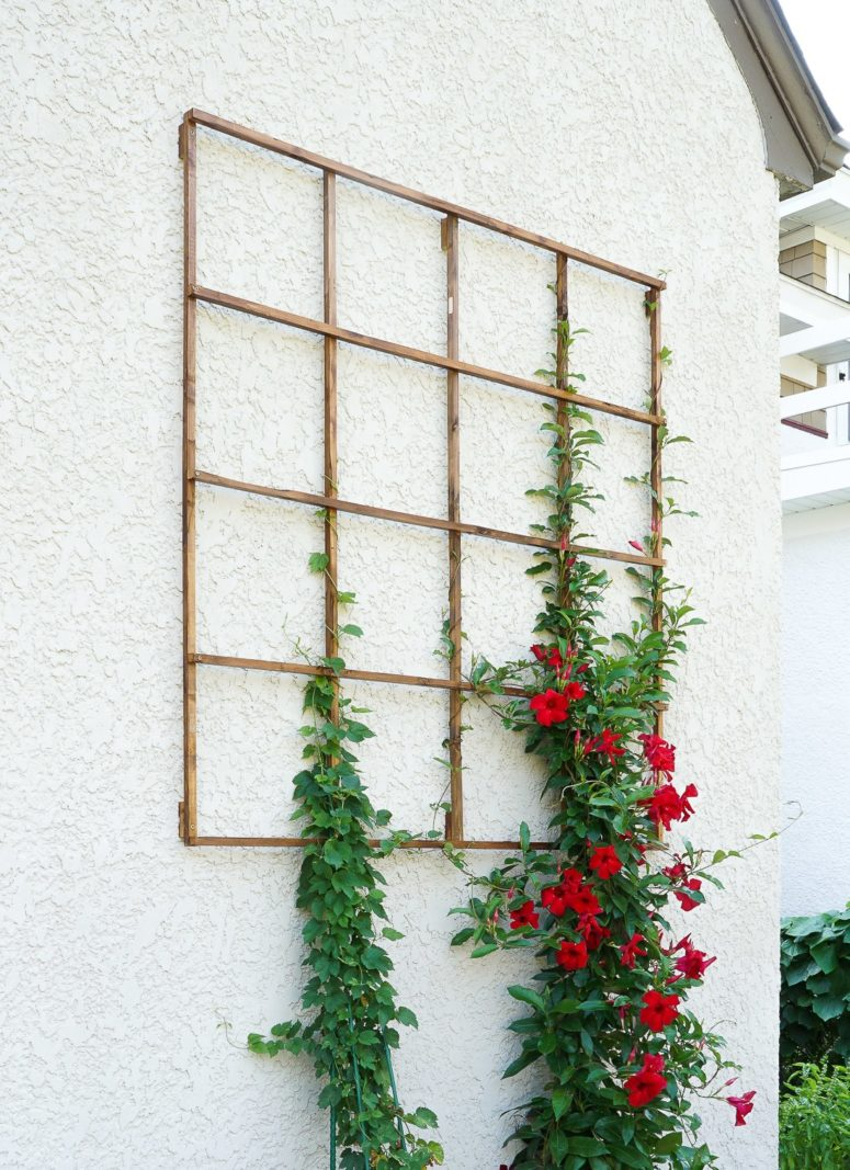 DIY wall-mounted wood garden trellis  (via francoisetmoi.com)