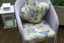 DIY lilac painted wicker chair