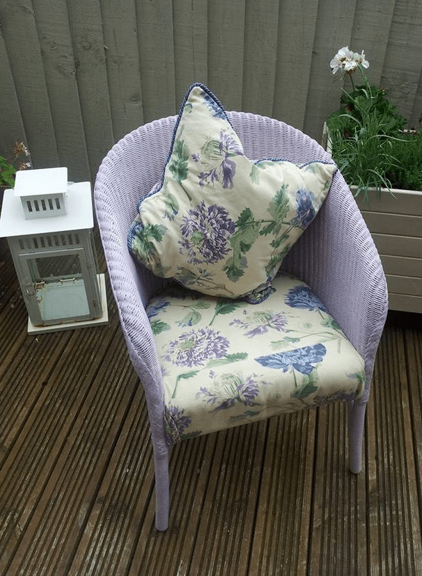 DIY lilac painted wicker chair (via www.distinctivechesterfields.com)