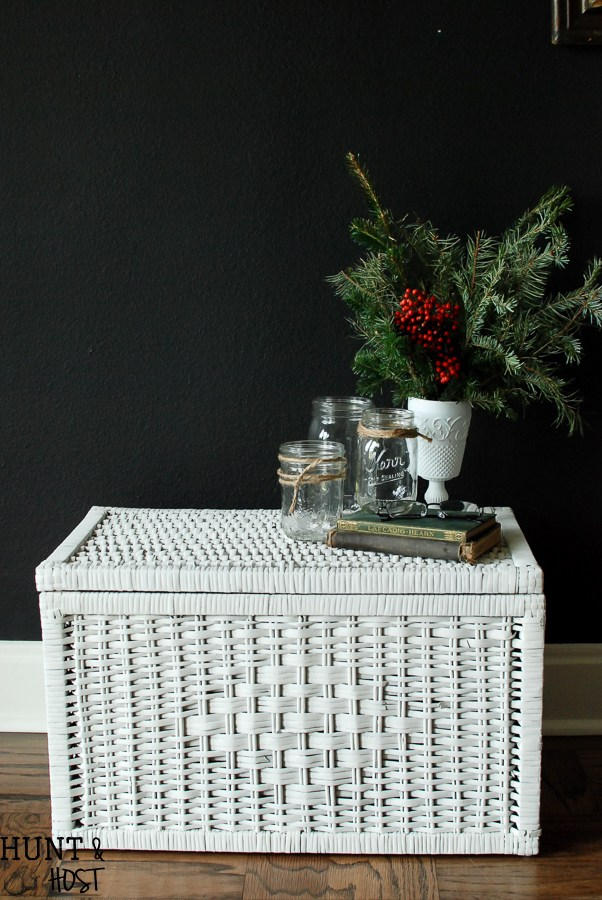 DIY spray painted wicker chest  (via www.huntandhost.net)